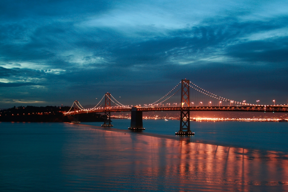 Sunrise over San Francisco - Oakland Bay Bridge